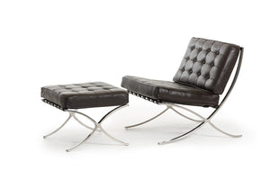 "Bellatrix Modern Espresso Leather ""X"" Leg Chair And Ottoman Lounge Set"