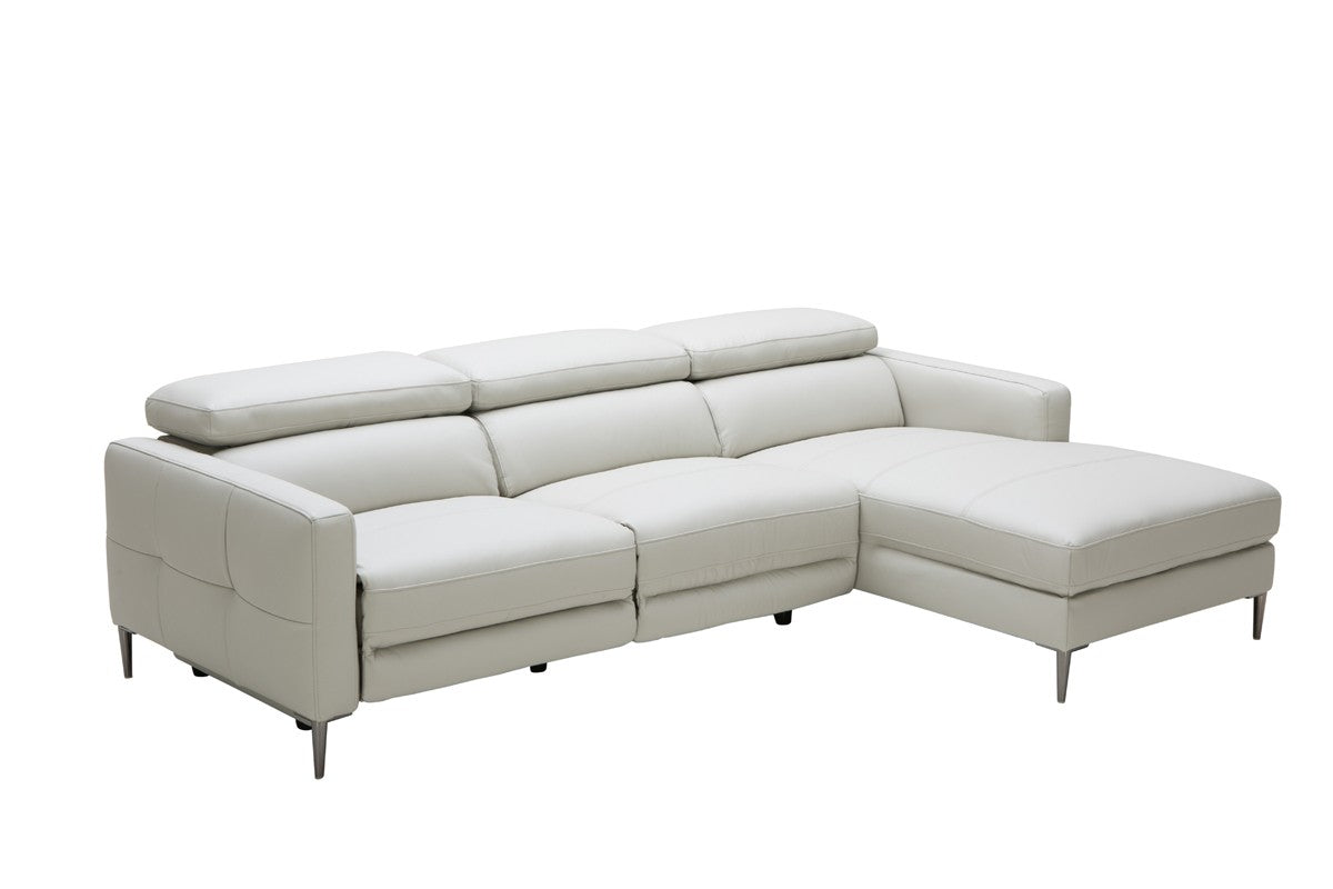 Divani Casa Booth Modern Light Grey Leather Sectional Sofa W Electric