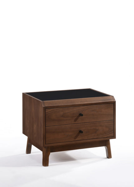 Modrest Gibson Modern Walnut & Black Glass Nightstand