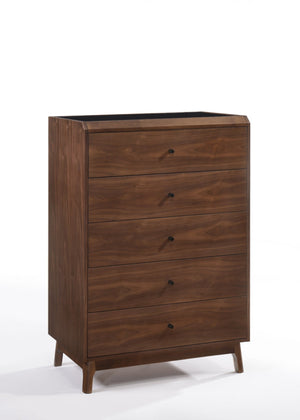 Black and Walnut Chest of Drawers