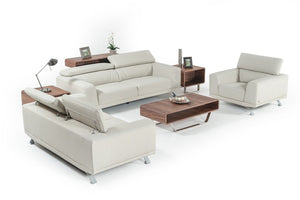 Divani Casa Brustle Modern Light Grey Eco-Leather Sofa Set
