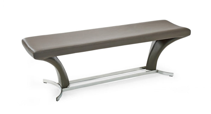 Modrest Arvin Modern Grey Leather Dining Bench