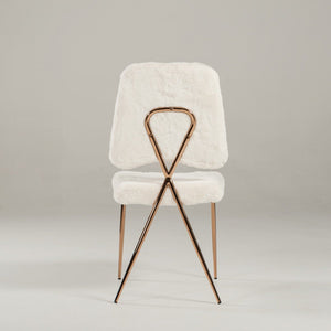 Candace - Modern White Faux Fur Dining Chairs (Set of 2)