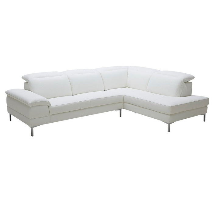Divani Casa Carnation Modern White Faux Leather Sectional Sofa