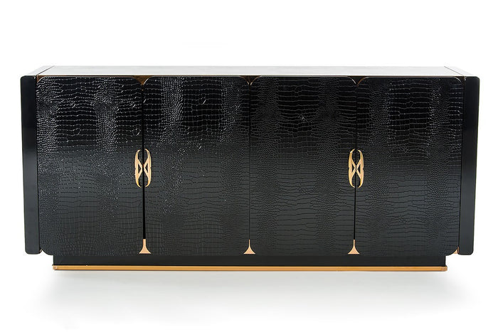 A&X Talin Modern Black Crocodile & Rosegold High Gloss Sideboard