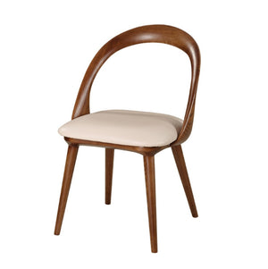 Modrest Mason Mid-Century Modern Beige & Walnut Dining Chair (Set of 2)