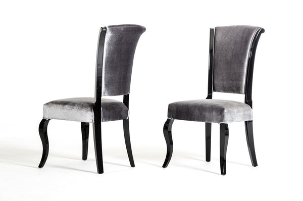 Gray and black dining chairs