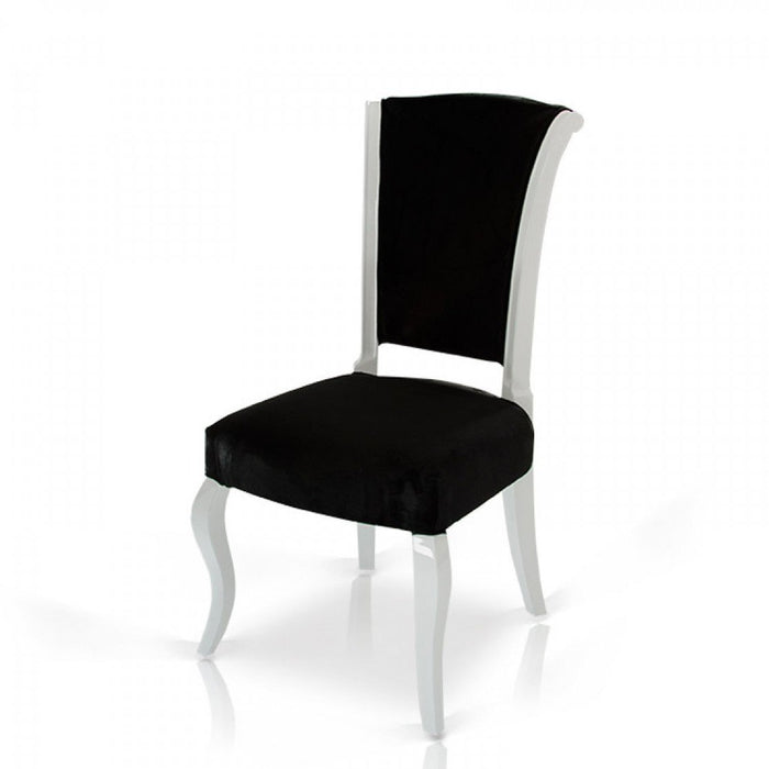 Seema - Modern Black & White Velvet Dining Chair (Set of 2)