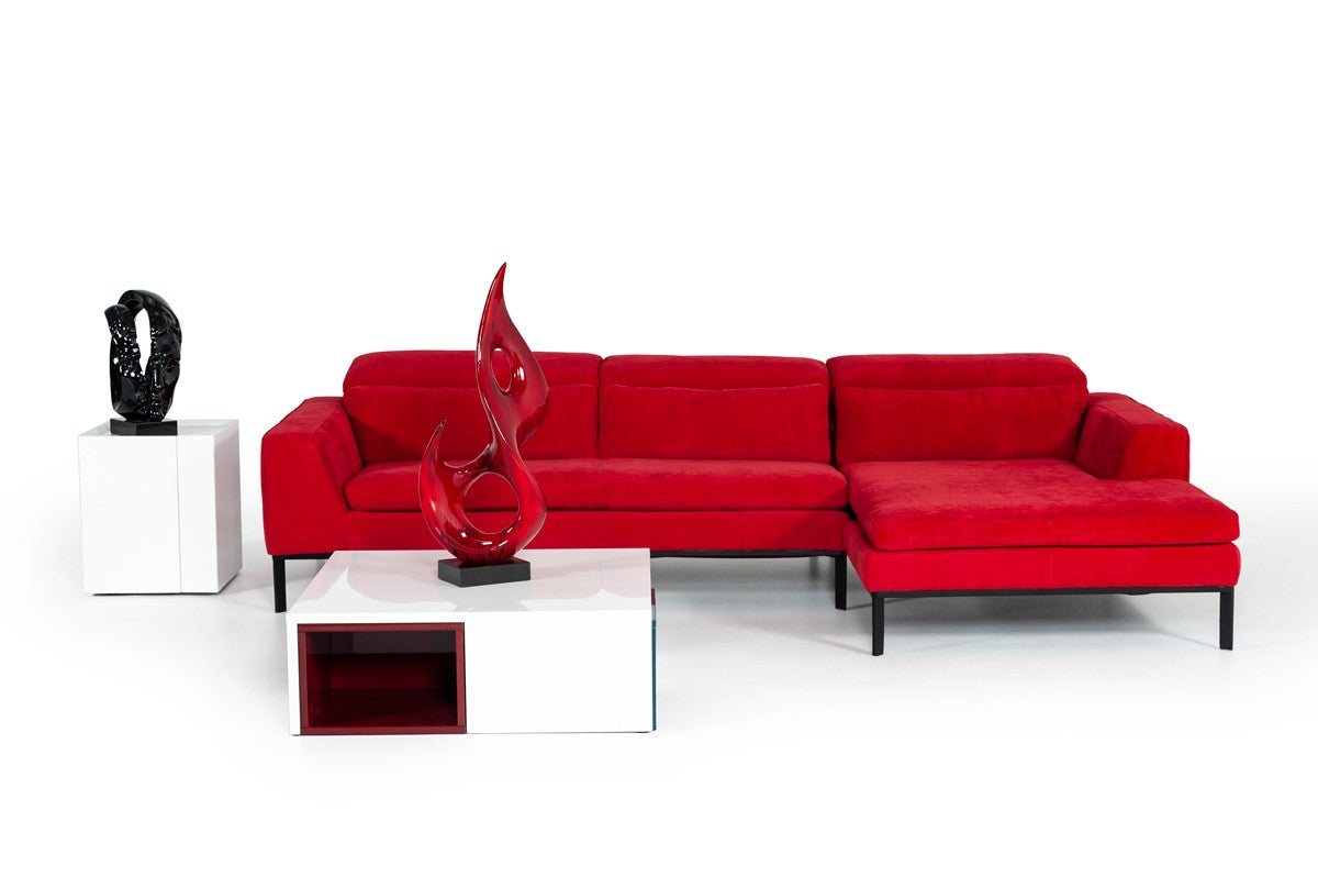 Divani Casa Clayton Modern Red Sectional Sofa With Chaise