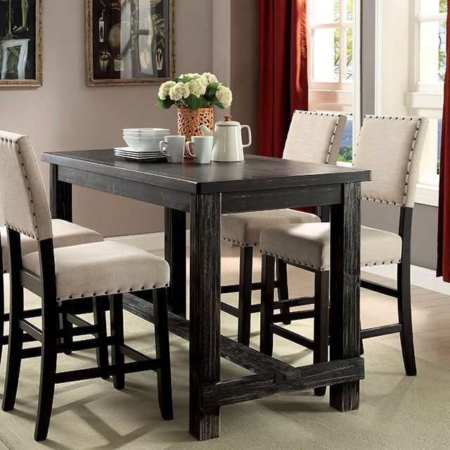 Furniture of America Sania Contemporary Antique Black Counter Height Dining Table