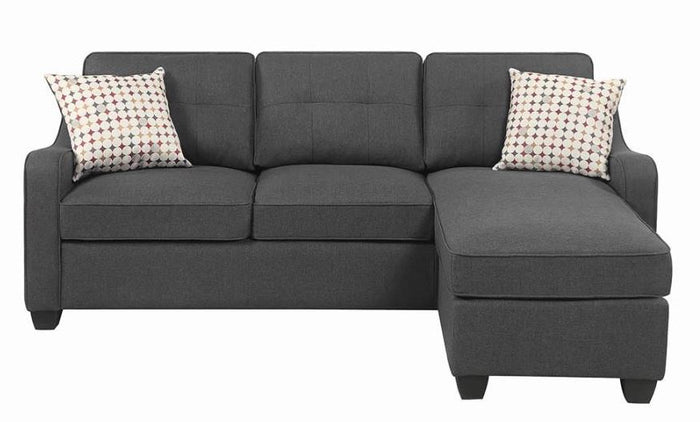 Coaster Furniture Reversible Darkl Grey Fabric Sectional Sofa