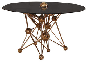 Modrest Brenna Modern Smoked Glass & Rosegold Round Dining Table