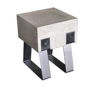 Modrest Cope Modern Concrete & Black Accent Outdoor Stool