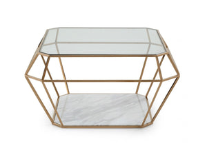 Modrest Ember Modern Rosegold & Marble Coffee Table
