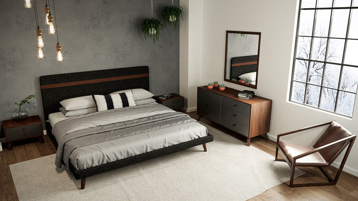 Nova Domus Dali Modern Grey Fabric & Walnut Bed