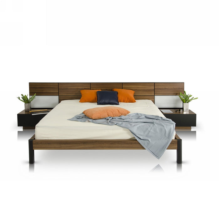 Modrest Rondo Modern Bed with Nightstands Attached