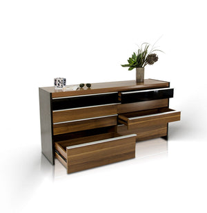Modrest Rondo Modern Walnut Veneer Bedroom Furniture Set