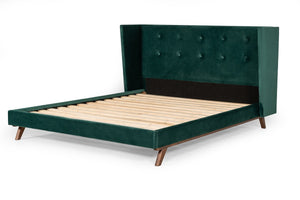 Modrest Durango Modern Green Fabric & Walnut Bed
