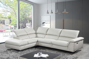 Divani Casa Maine Light Grey Eco-Leather Sectional Sofa w/ Power Recliner