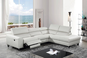 Divani Casa Versa Modern Light Grey Eco-Leather Sectional w/ Power Recliner