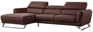 Divani Casa Doss Modern Eco-Leather Chocolate Brown Sectional Sofa with Chaise