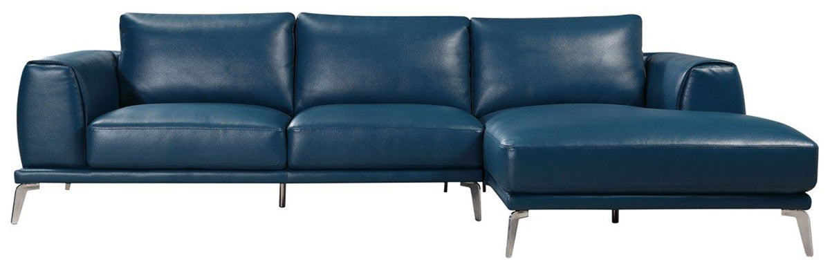 Divani Casa Drancy Blue Leather Seactional Sofa With Chaise