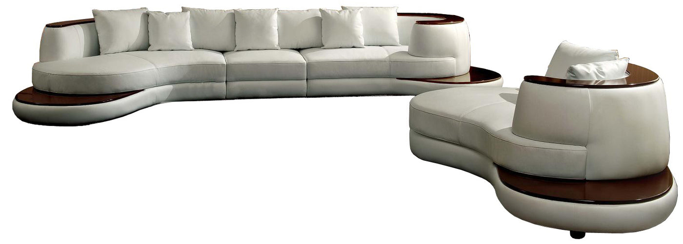 Leather Sectional Sofa With Wood Trim Rounded Corner