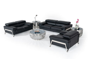Divani Casa Encore - Modern Leather Sofa Set with Adjustable Headrests