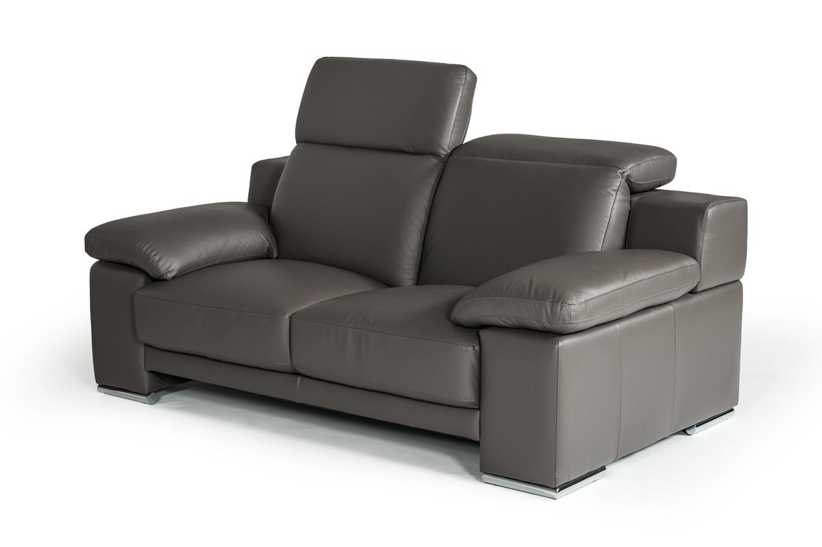 Estro Salotti Evergreen Dark Grey Italian Leather Sofa Set