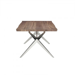 Modrest Stark Modern Walnut & Stainless Steel Dining Table