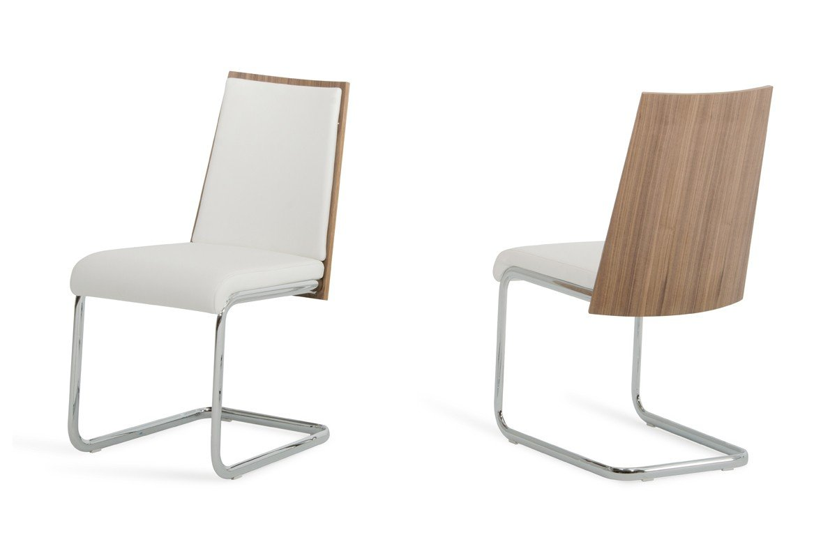 White and walnut dining chairs