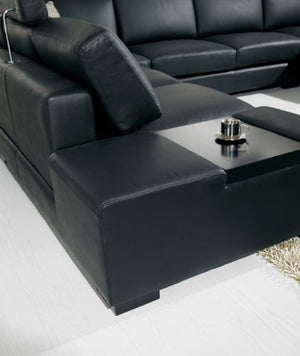 Divani Casa T35 - Black Bonded Leather Sectional Sofa With Light