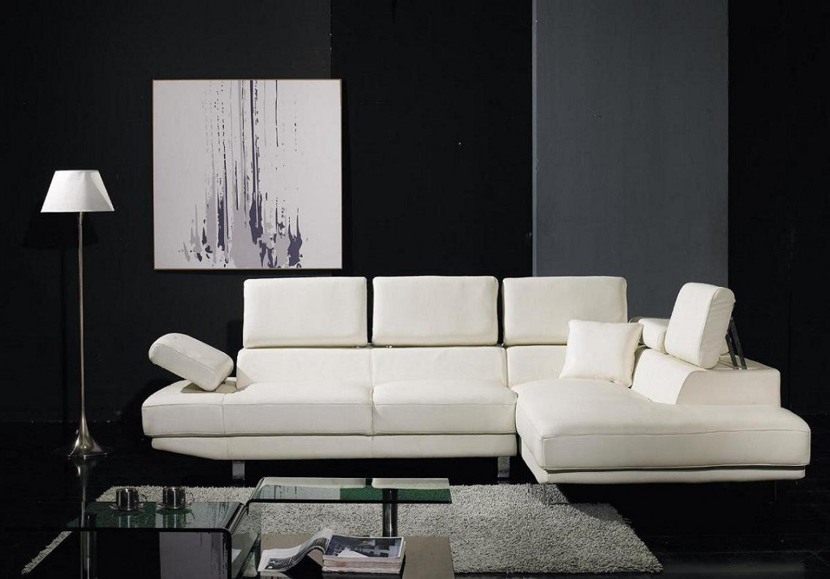 Divani Casa T60   White Leather Sectional Sofa With Chaise