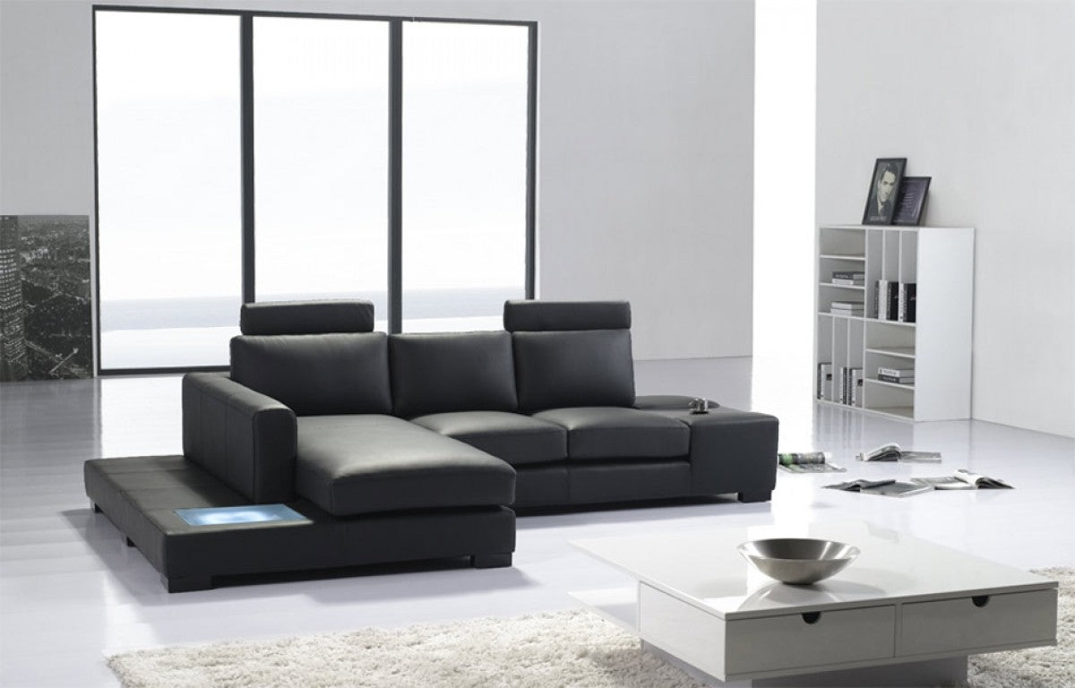 Bon T35 Black Leather Sectional Sofa ...