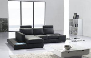 Divani Casa T35 Black Leather Sectional Sofa with Lights