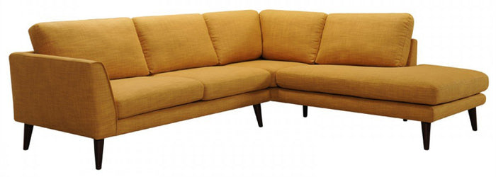 Divani Casa Drew Gold Fabric Sectional Sofa with Chaise