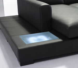 Divani Casa T35 Mini - Modern Black Eco-Leather Sectional Sofa with Light