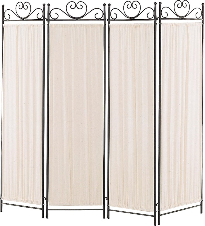 Coaster Folding Screens Four Panel Screen with Metal Frame & Gathered Fabric Panels