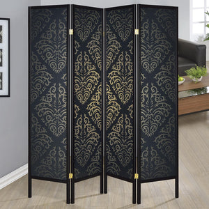 Coaster Folding Screens Four Panel with Black Finish & Gold Tone Damask Print