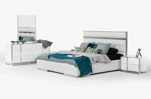 Nova Domus Francois White Gloss Bedroom Set Furniture Sets