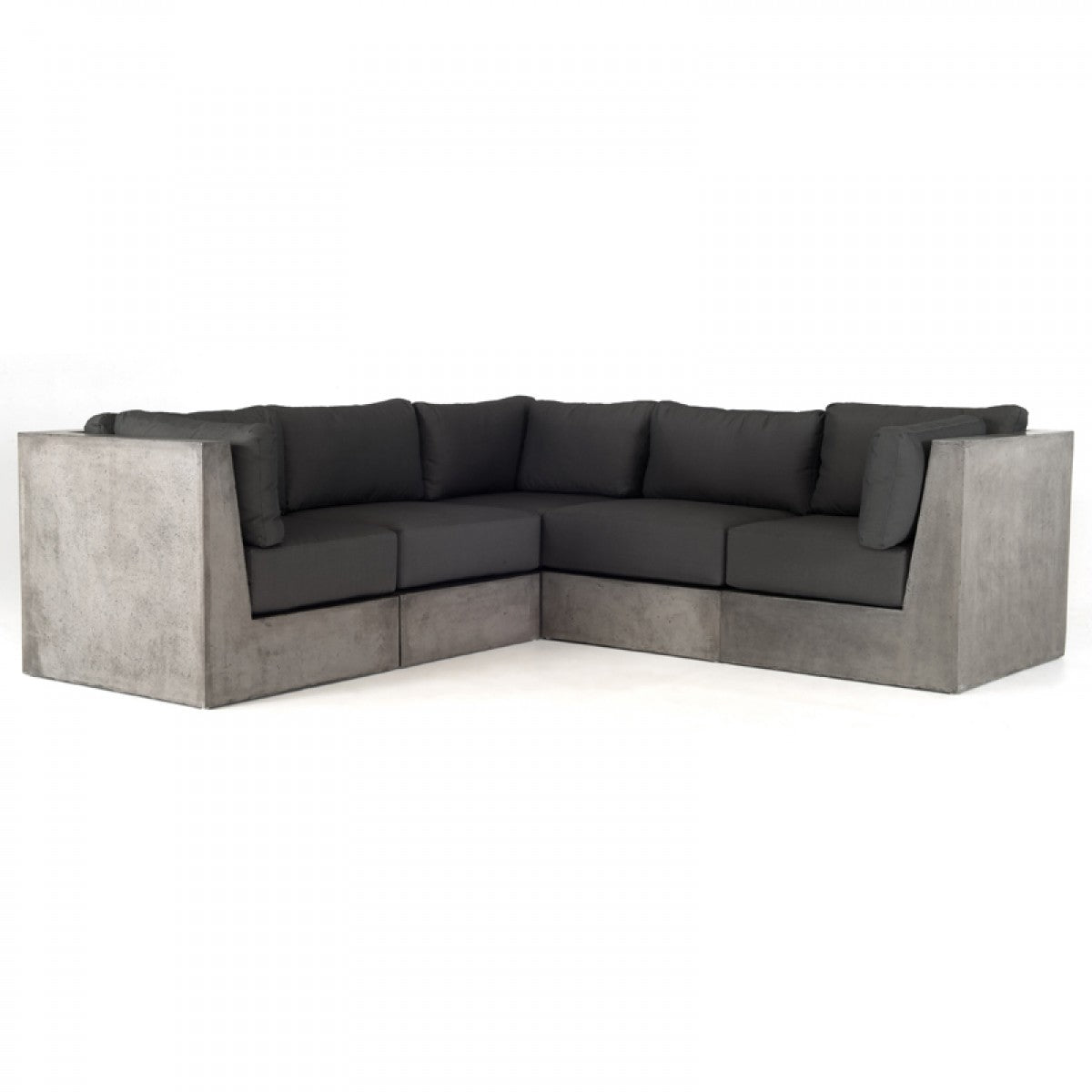 Dark Grey Sectional Sofa with Concrete Base