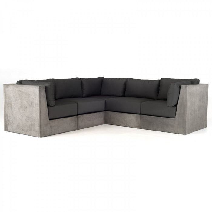Modrest Indigo Dark Grey Sectional Sofa with Concrete Base