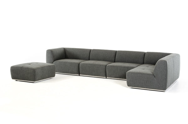 Divani Casa Hawthorn Modern Grey Fabric Sectional Sofa with Ottoman