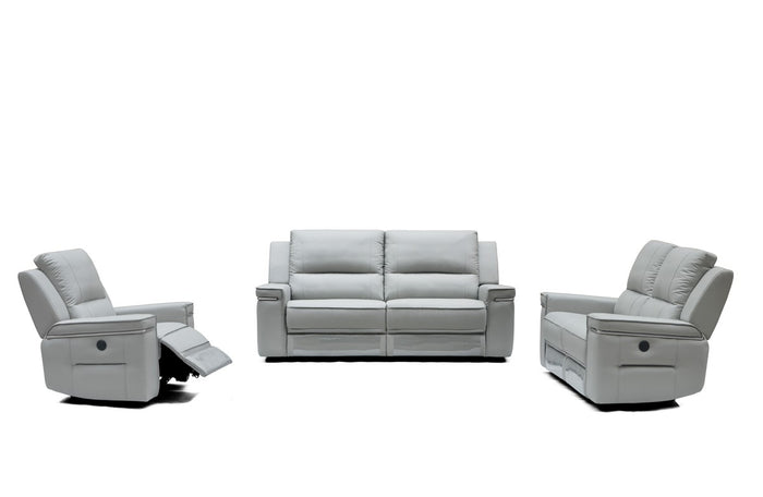 Divani Casa Hearst Modern Grey Leather Electric Recliner Sofa Set