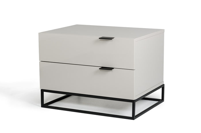 Modrest Hera Modern Grey Gloss Lacquer Finish Nightstand