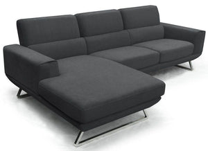 Divani Casa Becket Small Grey Sectional Sofa with Chaise