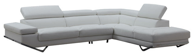 Gray Leather Sectional Sofa With Adjustable Headrests