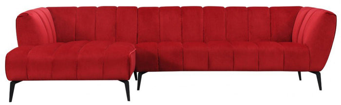 Divani Casa Morton Modern Red Fabric Sectional Sofa with Left Facing Chaise