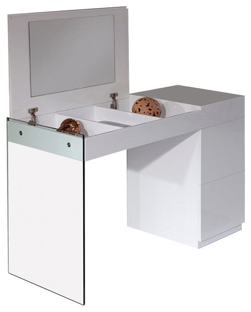 Modrest Volare - Modern Floating Glass White Vanity With Mirror