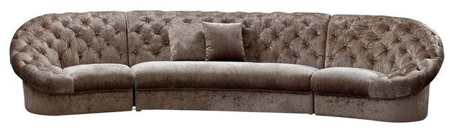 Divani Casa Cosmopolitan Mini - Acrylic Crystal Tufted Transitional Sectional Sofa